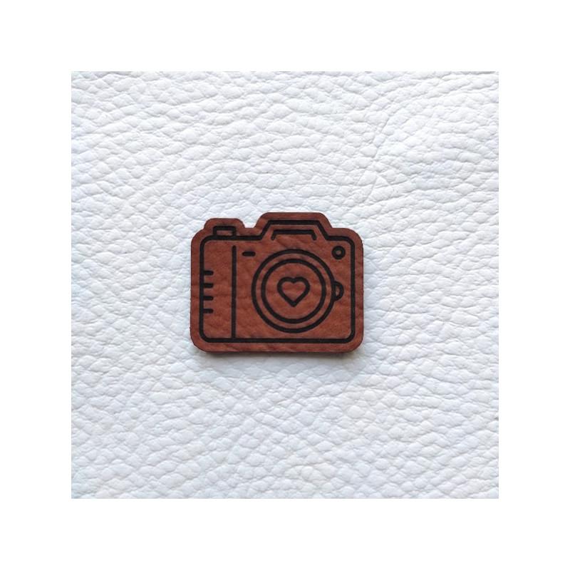 Embellissement appareil photo châtaigne en cuir SCRAPMOUSET