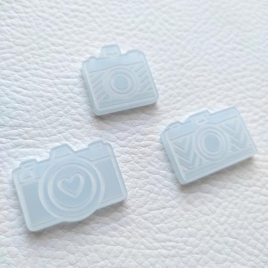 Lot de 3 appareils photos gravés acrylique bleu givré SCRAPMOUSET