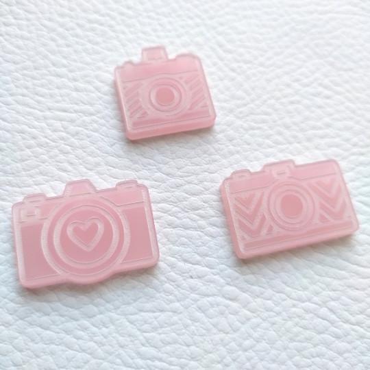Lot de 3 appareils photos gravés acrylique rose givré SCRAPMOUSET