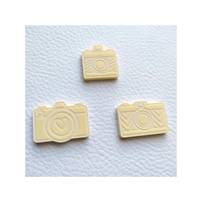 Lot de 3 appareils photos gravés acrylique citron SCRAPMOUSET