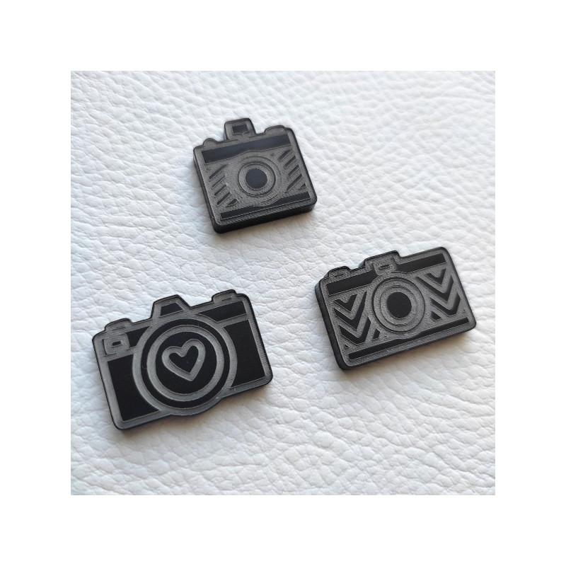 Lot de 3 appareils photos gravés acrylique noir mat SCRAPMOUSET