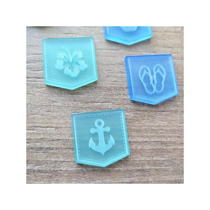 Lot de 6 fanions gravés thème vacances été acrylique caraïbes et bleu givré SCRAPMOUSET