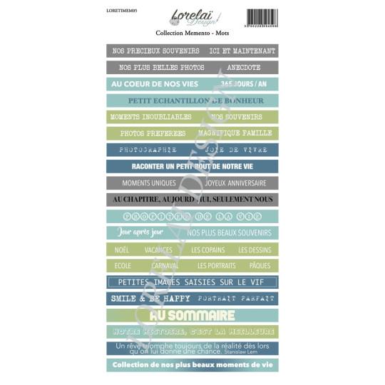 Planche d'étiquettes avec mots à découper collection Memento LORELAÏ DESSIGN