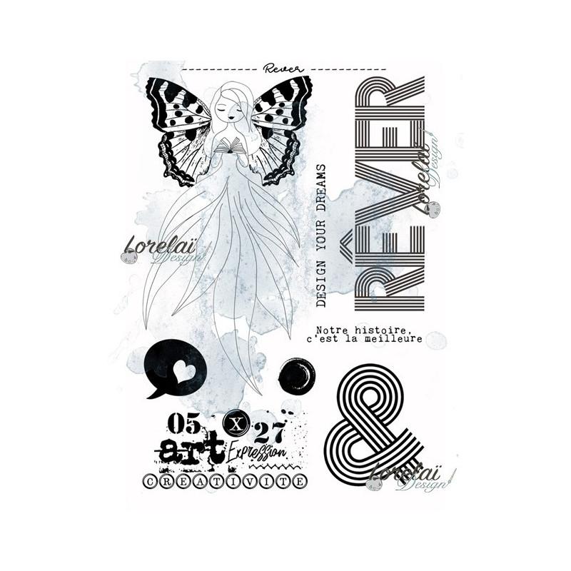 Set de 8 tampons clear Rêver collection Memento LORELAÏ DESIGN