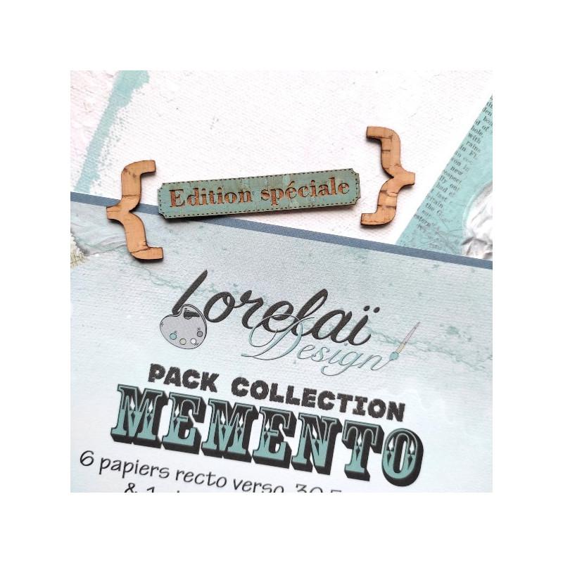 Lot 6 papiers scrapbooking 30 x 30 collection Memento LORELAÏ DESIGN