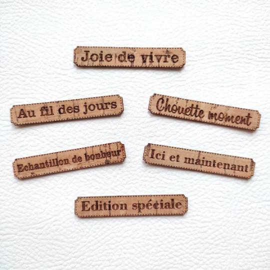 Lot de 6 étiquettes thème Moments en cuir liège marron SCRAPMOUSET