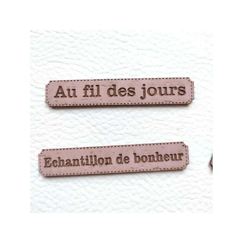 Lot 6 étiquettes thème Moments en cuir liège rose SCRAPMOUSET