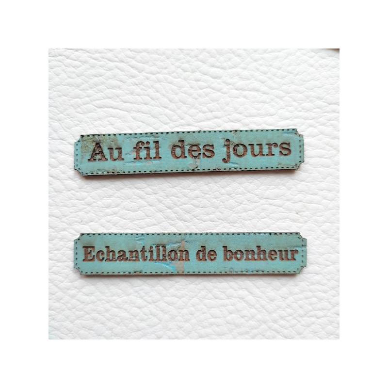 Lot 6 étiquettes thème Moments en cuir liège bleu océan SCRAPMOUSET