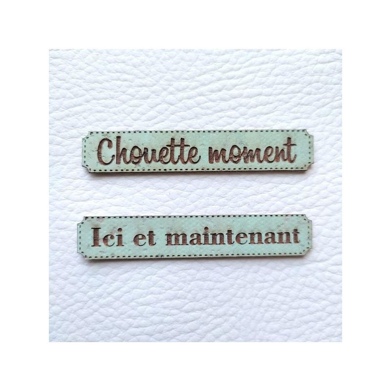 Lot 6 étiquettes thème Moments en cuir liège vert d'eau SCRAPMOUSET