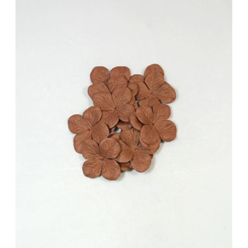 """Hydrangéas 3.5 cm """"Chocolat"""" en papier mûrier"""