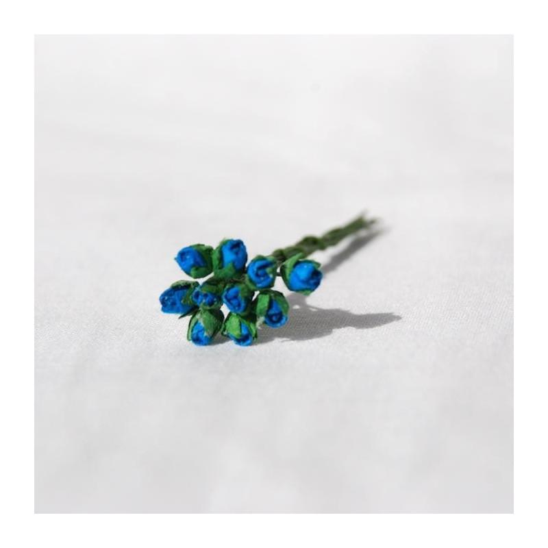 """Boutons de rose miniatures """"Turquoise"""" en papier mûrier"""