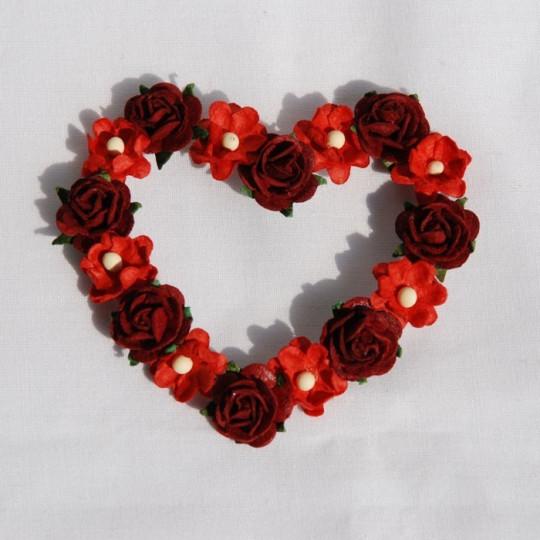 """Coeur de fleurs """"Rouge et bordeaux"""""""