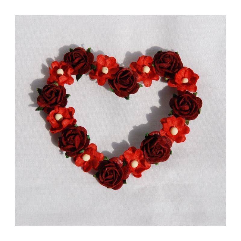 coeur de fleurs rouge et bordeaux. Black Bedroom Furniture Sets. Home Design Ideas