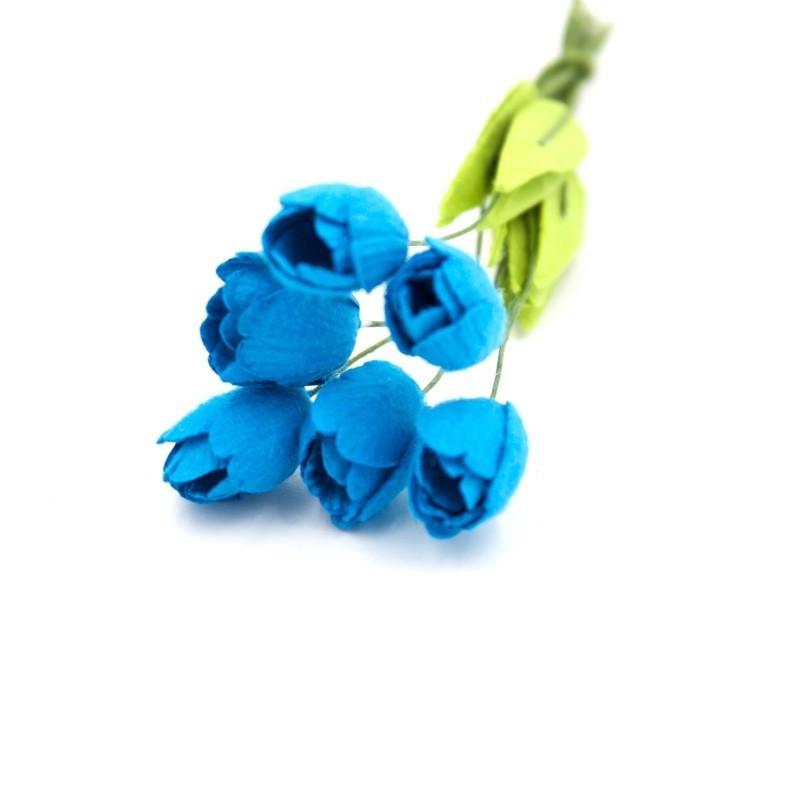 """Tulipes """"Turquoise"""" en papier mûrier"""