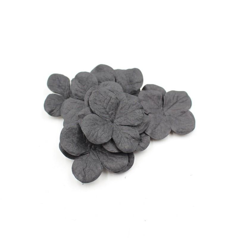 """Hydrangéas 3,5 cm """"Noir"""" en papier mûrier"""