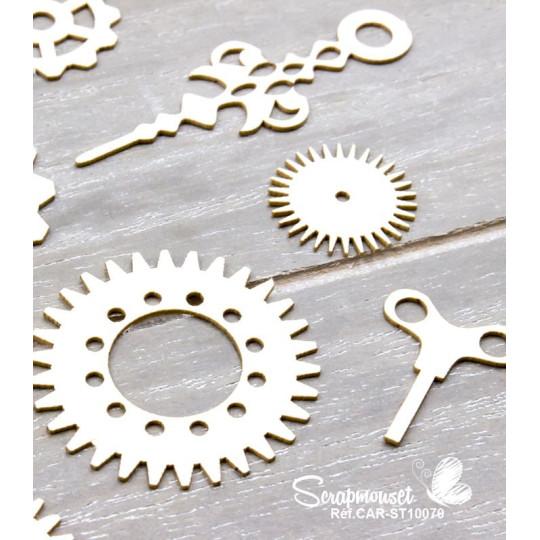 """Chipboards """"Engrenages et aiguilles"""" de Scrapmouset"""