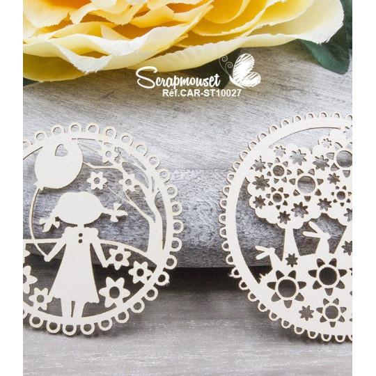 """Chipboards """"Cadres floraux fille"""" de Scrapmouset"""