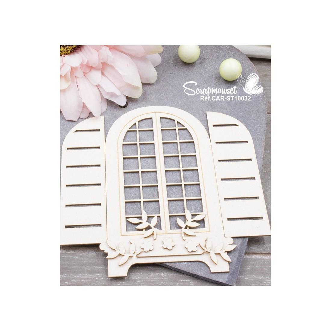 Embellissement chipboard scrapbooking fen tre printemps for Decoration fenetre printemps