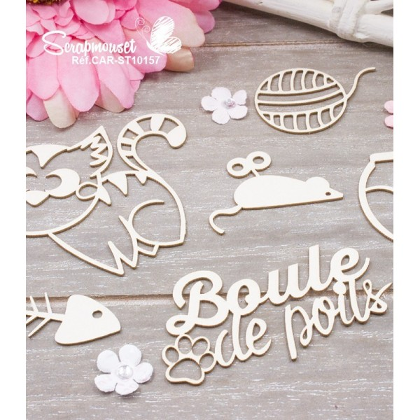 "Chipboards ""Boule de poils Chat"""