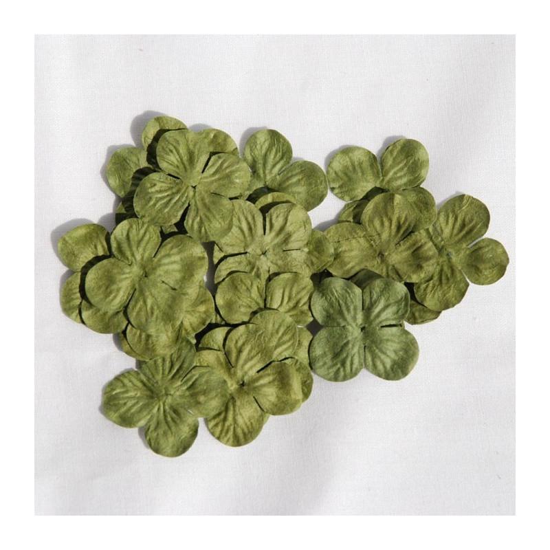 Fleur Hydrangéa 2,5 cm couleur Olive en papier mûrier