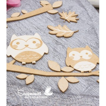 "Chipboards ""Famille chouette"""