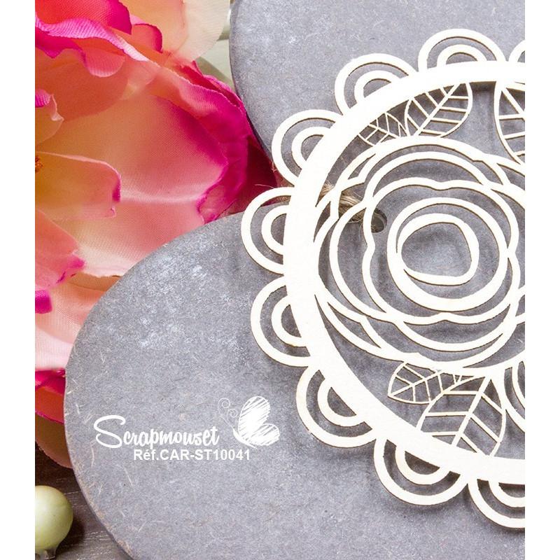 """Chipboard """"Doilie floral festonné"""""""