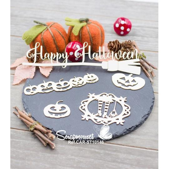 Embellissement Scrapbooking Halloween Balai sorcière