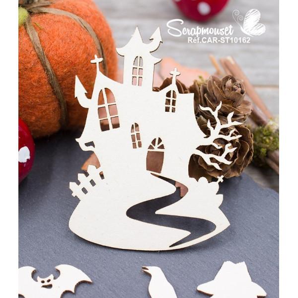 Embellissement Scrapbooking Halloween epouvantail et chateau