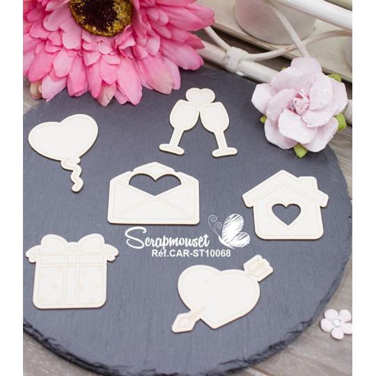 """Embellissements en carton bois """"Scrapmouset"""" Messages d'amour"""