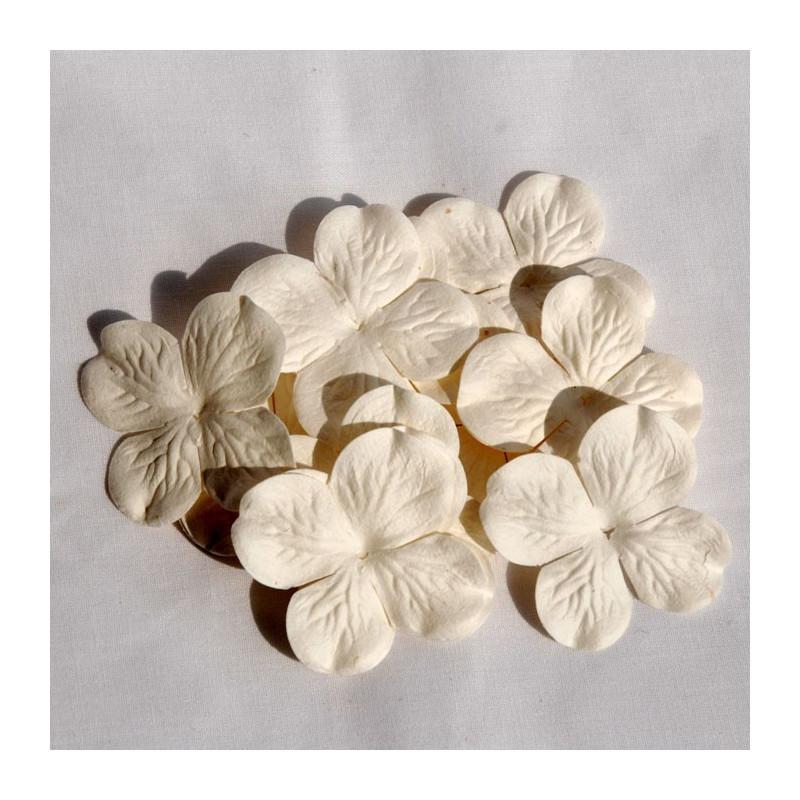 Fleur Hydrangéa 5 cm couleur blanche en papier mûrier
