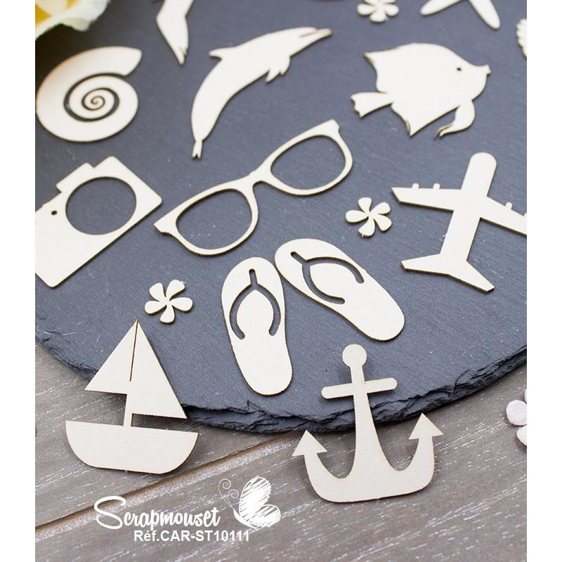 "Chipboards ""A la mer"" de Scrapmouset"