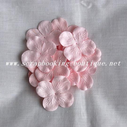 Fleur hydrangéa 5 centimètres couleur rose pastel en papier mûrier pour scrapbooking