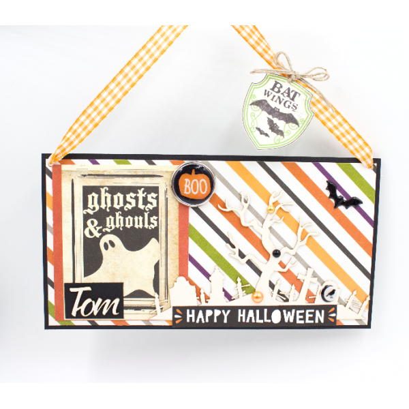 "Kit ""Plaque de porte personnalisée,  carterie Halloween orange-vert"""