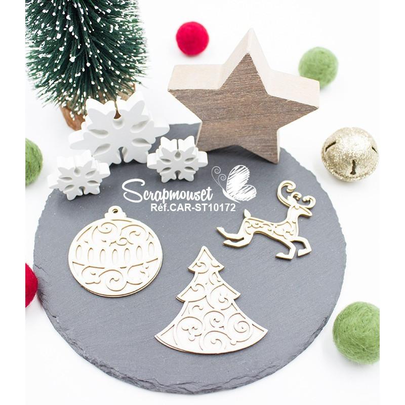 Trio Chipboard Noël 2D de Scrapmouset
