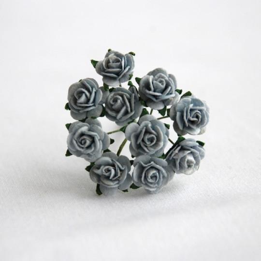 """Roses 1 cm """"bleu ciel"""" en papier mûrier"""