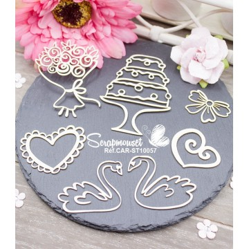"Chipboards ""Set mariage doodle"""
