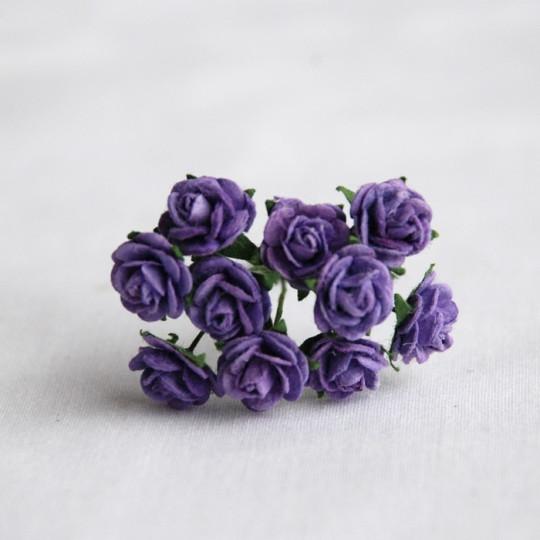 """Roses 1 cm """"violet"""" en papier mûrier"""