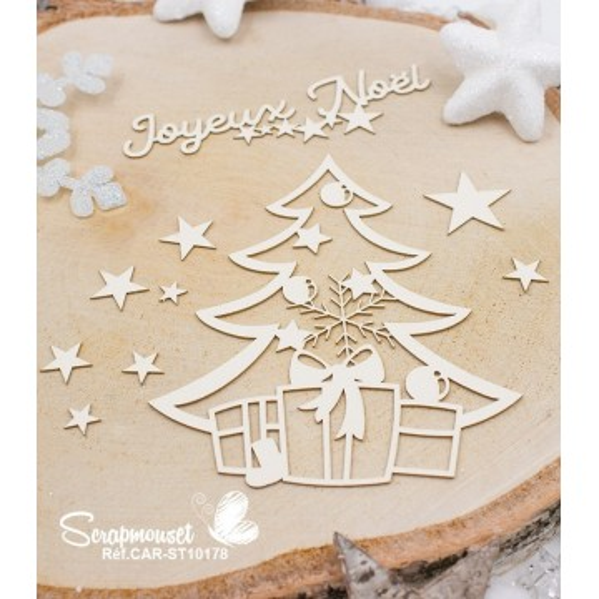 "Embellissements en carton bois ""Noël magique"" de Scrapmouset"