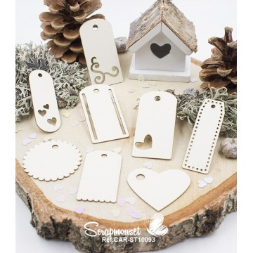 "Chipboards ""Tags in Love"" de Scrapmouset"