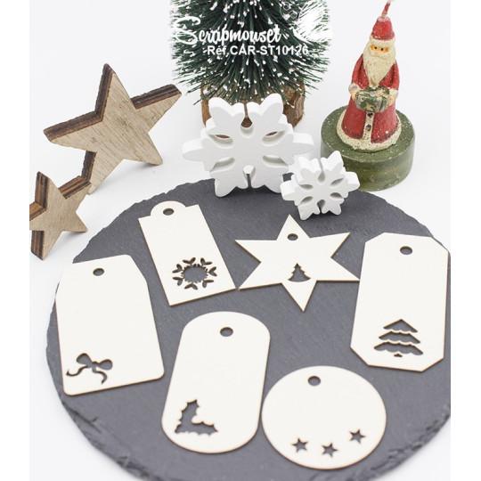 "Embellissements en carton bois ""Petits tags de Noël"" de Scrapmouset"
