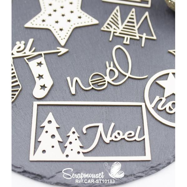 """Embellissements en carton bois """"Noël se prépare..."""" de Scrapmouset"""