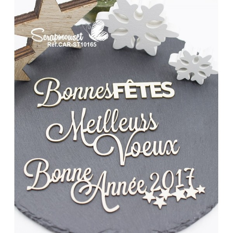 """Embellissements en carton bois """"Meilleurs voeux et bonne année"""" de Scrapmouset"""