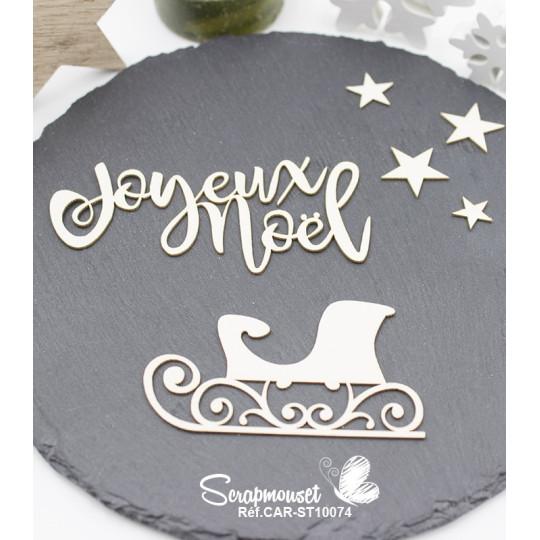 """Embellissements en  carton bois """"Traineaux de Noël"""" de Scrapmouset"""