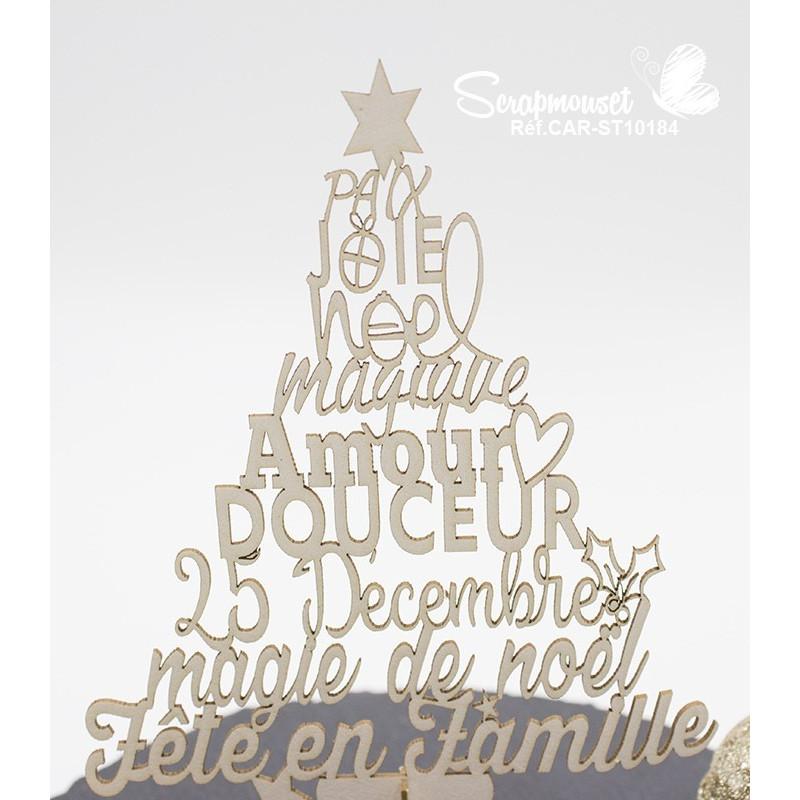"Embellissement en carton bois ""Sapin 3D Noël magique"" de Scrapmouset"