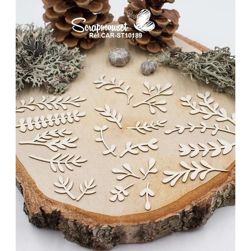 """Embellissements en carton bois """"Feuillages de fêtes"""" de Scrapmouset"""