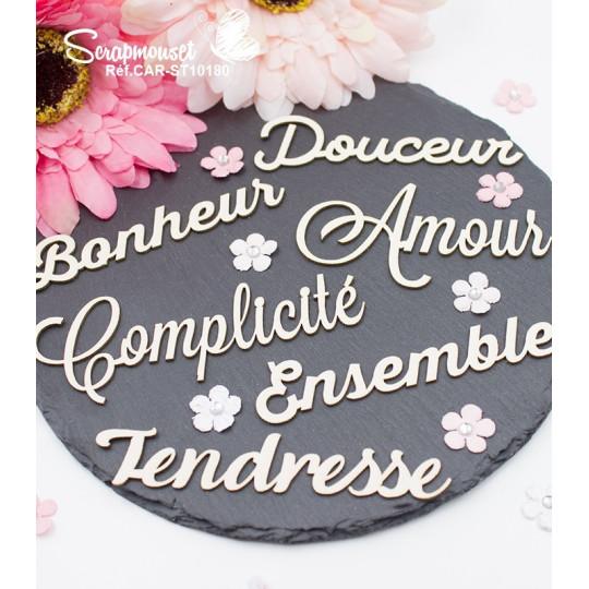 """Embellissements en carton bois """"Méli-mélo de petits mots"""" de Scrapmouset"""