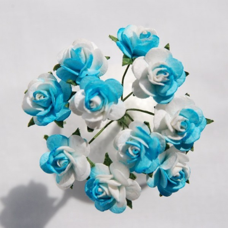 """Roses 1.5 cm """"Blanc et turquoise"""""""