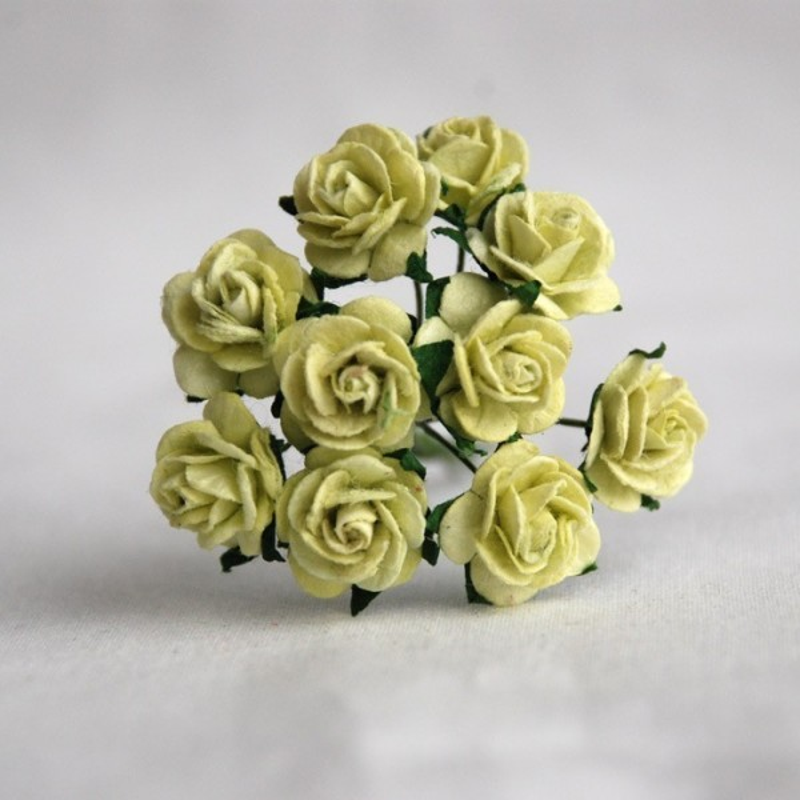 Roses 1.5 cm vert pastel