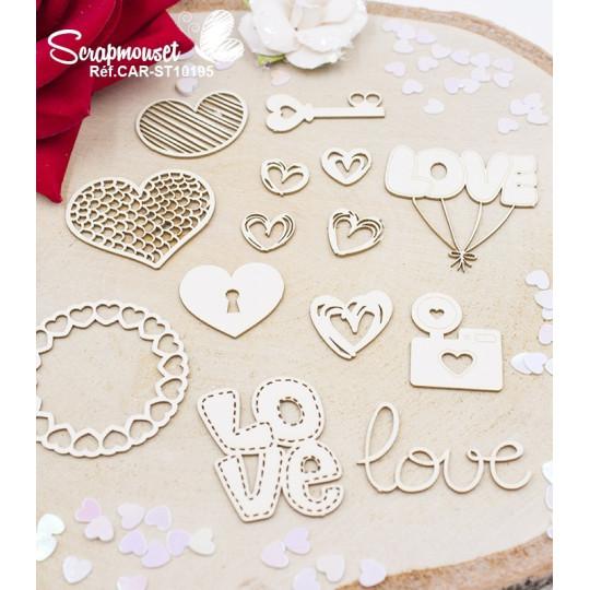 Embellissements Love et coeurs en carton bois de Scrapmouset