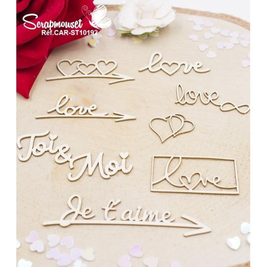 Embellissements Mots Saint Valentin en carton bois de Scrapmouset
